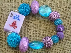 Mahjong Bracelet in Purple and Turquoise - Jesse James Beads Jewelry - Mahjong Jewelry by MahjongJewelry on Etsy