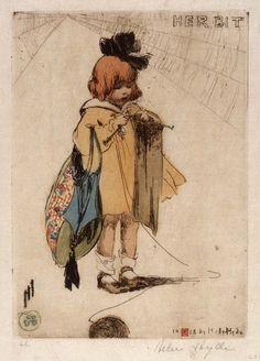 her bit by Helen Hyde, 1918, girl knitting