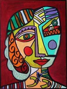 cubist style self portrait - tie in with romero britto as well