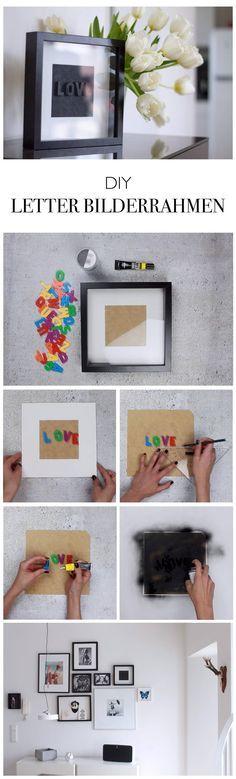 DIY Bilderrahmen mit Schriftzug - Letterbox - do-it-yourself Blog lindaloves.de