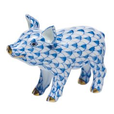 """Herend Hand Painted Porcelain Figurine """"Little Pig Standing"""" Blue Fishnet Gold Accents."""