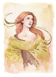 Nerdanel by Jenny Dolfen. 23 karat gold and watercolour on cold-pressed paper.