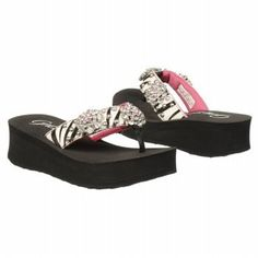 Grazie Girls' Pony (Toddler-Youth) Grazie. $37.80. Zebra-print leather upper with glittery rhinestone details. She'll love the wild style of this fun thong. leather. Whole sizes only, half sizes order next size up. rubber sole. Thick wedge midsole. Rubber outsole