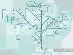 Mississippi Metro Map by Frank Jacobs.the Mississippi River is mapped like a subway system. Mississippi, System Map, Metro Map, Subway Map, Proof Of Concept, London Underground, Cartography, Science And Nature, Geography