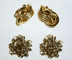 Vintage Clip On Earrings Lot of 2:  JUDY LEE & TRIFARI #JudyLeeTrifari #Cluster