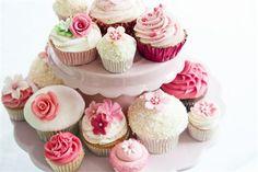 Pink vintage style wedding cupcakes