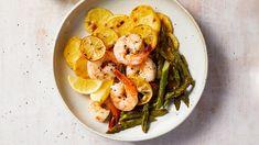 Shrimp-Scampi Pan Bake Seafood Recipes, Cooking Recipes, Shellfish Recipes, Roasted Chicken And Potatoes, Sliced Potatoes, Martha Stewart Recipes, Recipe Sheets, Sheet Pan Suppers, Scampi