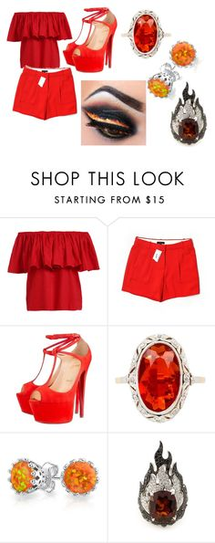 """fire set"" by eyeless-angel-of-death ❤ liked on Polyvore featuring J.Crew, Christian Louboutin, Bling Jewelry and Garrard"