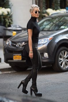 Flying high: The 24-year-old strutted the streets of Manhattan in a killer pair of platform heels