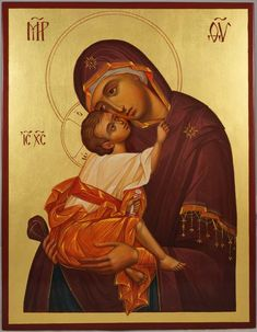 High quality hand-painted icon of Mother of God Eleusa (Chora). BlessedMart offers Religious icons in old Byzantine, Greek, Russian and Catholic style. Religious Icons, Religious Art, Paint Icon, Religion, Russian Icons, Religious Paintings, Bible Pictures, Byzantine Icons, Divine Light