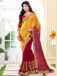 Red with Yellow Bandhej Print Embroidered Bandhni Saree