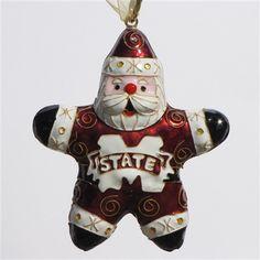Mississippi State University Santa Star Cloisonne Ornament http://www.kittykeller.com/Mississippi_State_University_s/112.htm