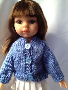 This is a basic doll sweater pattern that can be easily adapted to suit your doll. The sleeves can be long, 3/4, or short. The length of the sweater can be shortened or lengthened, and a collar can be added as well.