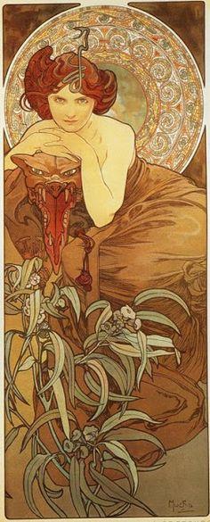 Mucha - The Precious Stones: Emerald (1900)