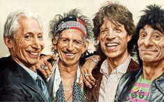 Sebastian Krüger's Rolling Stones Art: Epic Portraits Of The Rock N Roll Super Stars The Rolling Stones, Funny Caricatures, Celebrity Caricatures, Sebastian Kruger, Art Pierre, Rock Legends, Keith Richards, Stone Art, Beautiful Paintings
