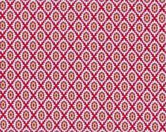 """Patchworkstoff """"Love & Joy"""" mit Blüten-Rauten-Muster, rot-weiß"""