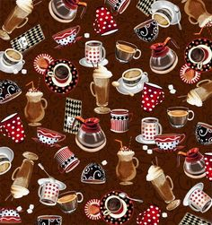Red Rooster Quilts: Shop | Category: All About Coffee by Exclusively Quilters for Classic Cottons | Product: 3917-60576-9 Mocha Allover Coffee