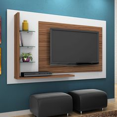 Painel compacto além de ocupar pouco espaço, ajuda muito com a organização! Fora o charme que dá à #decoração. #Prod146124 Rak Tv, Lcd Units, Tv Wall Decor, Tv Furniture, Living Room Tv, Living Room Modern, Living Room Designs, Tv Unit Design, Tv Wall Design