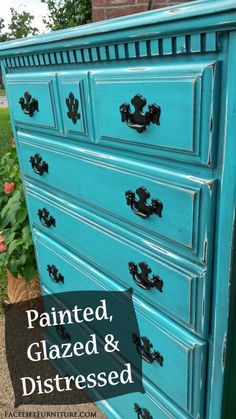 Turquoise Chest - Painted Glazed Distressed