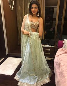 Mirror work lehenga for different wedding functions. Pakistani Dresses, Indian Dresses, Indian Outfits, Indian Clothes, Mirror Work Lehenga, Simple Lehenga, Lehnga Dress, Dress Indian Style, Indian Lehenga