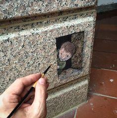 David Zinn in Chiai T'Ai-Wan Taiwan (LP) Amazing Artists Streetart David Zinn, 3d Street Art, Street Art Graffiti, Street Artists, Graffiti Artists, Urbane Kunst, New York Graffiti, Sidewalk Chalk Art, Graffiti Lettering