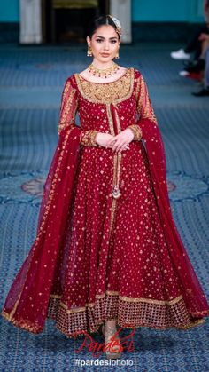 Traditional Red Wedding Dress for Pakistani and Indian Brides – Designer Bridal Wear - Pakistani dresses Pakistani Party Wear Dresses, Pakistani Wedding Outfits, Wedding Dresses For Girls, Pakistani Dress Design, Bridal Outfits, Nikkah Dress, Shadi Dresses, Mehndi Dress, Pakistani Designers