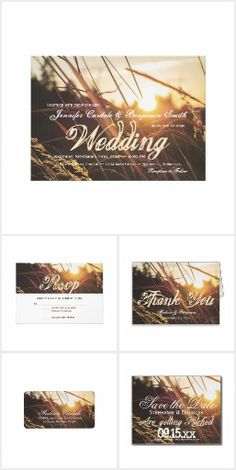 ** Rustic Country Autumn Field Sunset Fall Wedding Invitation Set with a beautiful landscape wheat field and grasses nature scene with a sunset in the background. **Explore Today !