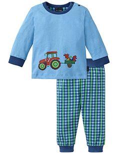 Schiesser Baby - Jungen Zweiteiliger Schlafanzug Baby Anzug 2 - teilig, Gr. 74, Blau (hellblau 805)