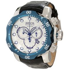 Invicta 10781 Men's Reserve Venom Silver Tone Textured Dial Blue Bezel Leather Strap Chronograph Dive Watch,