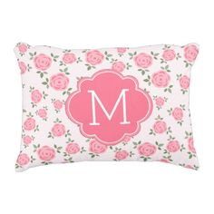 Pink Floral Pattern Monogrammed Accent Pillow