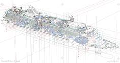 Ship Cutaway Vector Line Construction Drawings