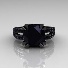 Modern Vintage 14K Black Gold 30 Carat Black Diamond by artmasters, $2249.00....Only I would wan't to murder out my engagement ring
