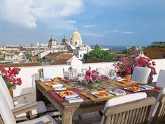 Outdoor dining in Cartagena, Colombia with a beautiful view (The Cathedral dome and the sea). Just 45 min from Miami. Oh The Places You'll Go, Great Places, Beautiful Places, Small Places, Outdoor Rooms, Outdoor Dining, Indoor Outdoor, Outdoor Furniture, Rooftop Dining