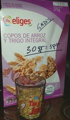 Algo más de la mitad del vaso son 30 gr de copos: 1 pp