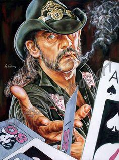 Lemmy Kilmister painting portrait, Motörhead poster, hand-painted original art