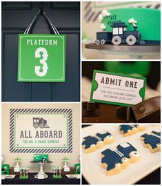 Navy & Green Train themed birthday party via Kara's Party Ideas KarasPartyIdeas.com Tutorials, cake, printables, favors, recipes, supplies, and more! #trainparty #choochootrain #trainstation (2)