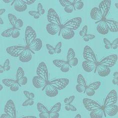 I Love Wallpaper Butterfly Shimmer Wallpaper Metallic Silver / Teal:Amazon.co.uk:DIY & Tools