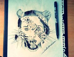 Draw leopard girl 2014