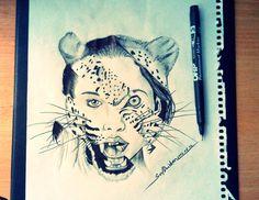 Draw leopard girl 2014