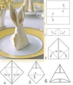 Bunny Napkin Fold how to.