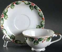 """""""Holly Garland"""" by Lefton  cup and saucer"""