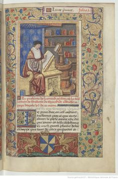 Bibliothèque nationale de France, Département des manuscrits, Français 17211, fol. 1r.showing a copyist making a transcription with the original on a lectern in front of him. Worth noting, the books in the case are stored with the cover out, not spine-out as in modern libraries.