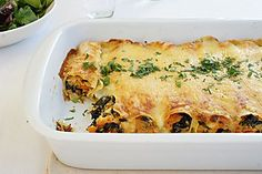 Cannelloni made from lasagne sheets, stuffed with sweet potato, ricotta and spinach.  Baked with a sauce using cream and stock rather than the more traditional tomato based sauces.