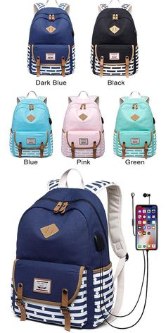 Fresh USB Interface Dot Double Buckle Canvas College Large Backpack Stripe High School Bag - Men's style, accessories, mens fashion trends 2020 High School Bags, Cute School Bags, Backpacks For Sale, Girl Backpacks, College Backpacks, High School Backpacks, Leather Backpacks, Leather Bags, Fashion Bags