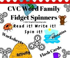 CVC Word Family Fidget Spinners are fun , creative, cute and a complete hands-on approach to teach and learn CVC Word Families. With fidget spinner craze going around, children would love to make , create, read, write, learn and have fun this complete bundle of over 110 fidget spinners, additionally with a pack of printable 70 flash cards with pictures for