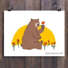 California Bear with Poppy Flower: Art Print California Bear, Bear Art, Poppies, Pikachu, Cool Designs, Original Paintings, Art Prints, Illustration, Flowers