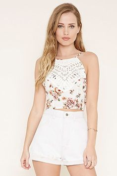 2e2d721781b78 Crochet-Front Floral Cami Crop Top Shirts
