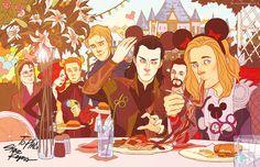 Avengers and Loki at Disneyland.