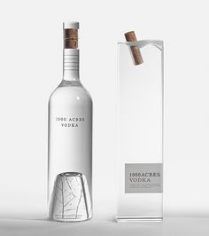 . The cork that looks like cork frozen in water and the birch tree twigs found at the bottom of the glass just captures the origins of where vodka comes from. Amazing work! 1000 Acres Vodka proves that investment in bottle design will always be king.