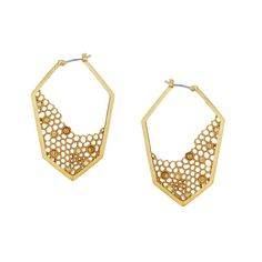 Honey Comb Asymmetrical #Hoop #Earrings by Chloe + Isabel. Grab these daring danglers for some nature-inspired edge. A delicate #honeycomb design paired with Swarovski crystals makes these hives heavenly. www.chloeandisabelseattle.com